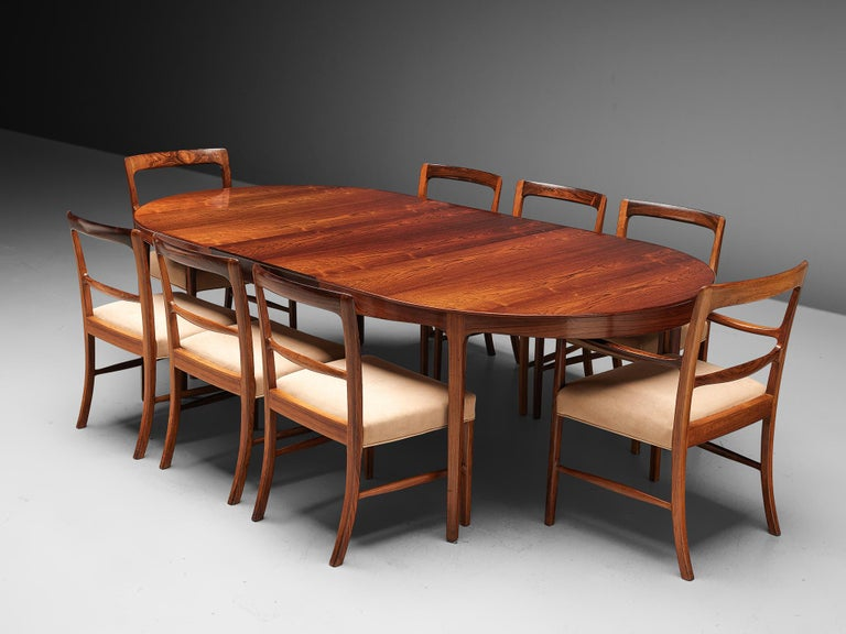 Ole Wanscher Extendable Oval Dining Table in Rosewood 5