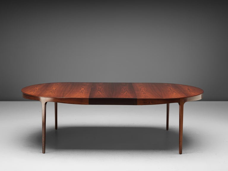 Scandinavian Modern Ole Wanscher Extendable Oval Dining Table in Rosewood