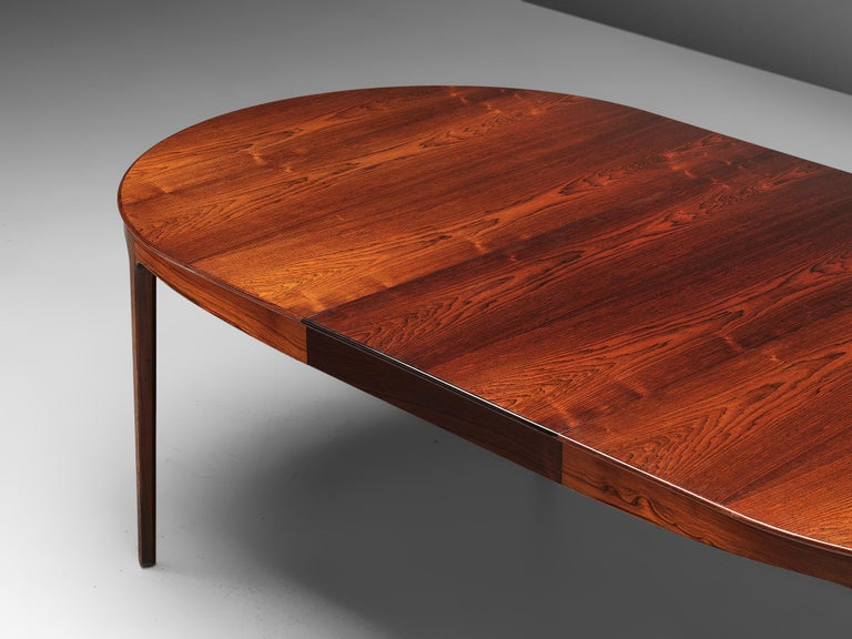 Danish Ole Wanscher Extendable Oval Dining Table in Rosewood