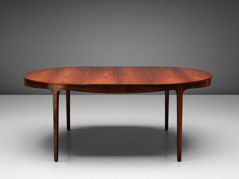 Ole Wanscher Extendable Oval Dining Table in Rosewood In Good Condition In Waalwijk, NL
