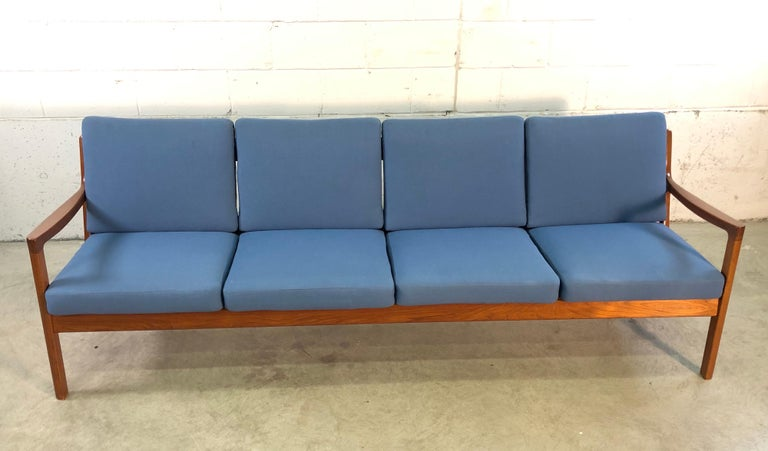 Scandinavian Modern Ole Wanscher for France & Sons Denmark Teak 4-Seat Sofa For Sale