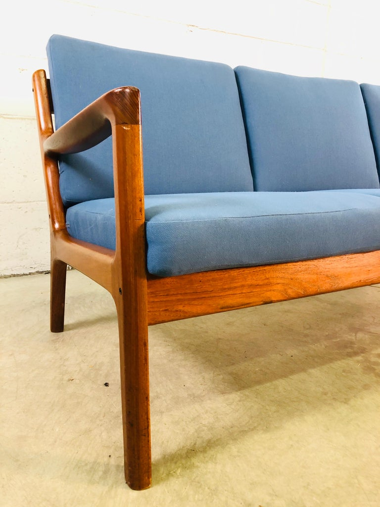 Ole Wanscher for France & Sons Denmark Teak 4-Seat Sofa In Good Condition For Sale In Amherst, NH