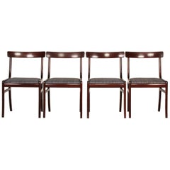 Ole Wanscher Four Rungstedlund Chairs of Mahogany Made by PJ Møbler, Denmark