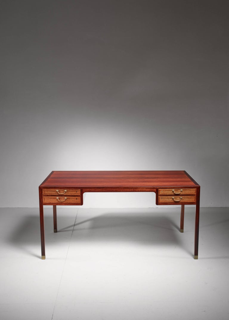Danish Ole Wanscher Freestanding Desk with Brass Details, Denmark, 1950s For Sale