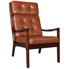 Ole Wanscher Lounge Chair, Mahogany Leather
