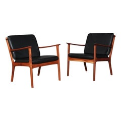 Ole Wanscher Lounge Chairs, Model PJ112, Black Aniline Leather