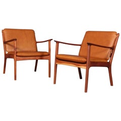 Ole Wanscher Lounge Chairs, Model PJ112, Cognac Aniline Leather