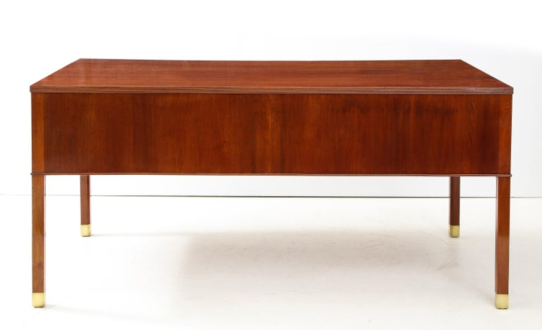 Mid-Century Modern Ole Wanscher Mahogany Desk, circa 1950s, Produced by A. J. Iversens For Sale