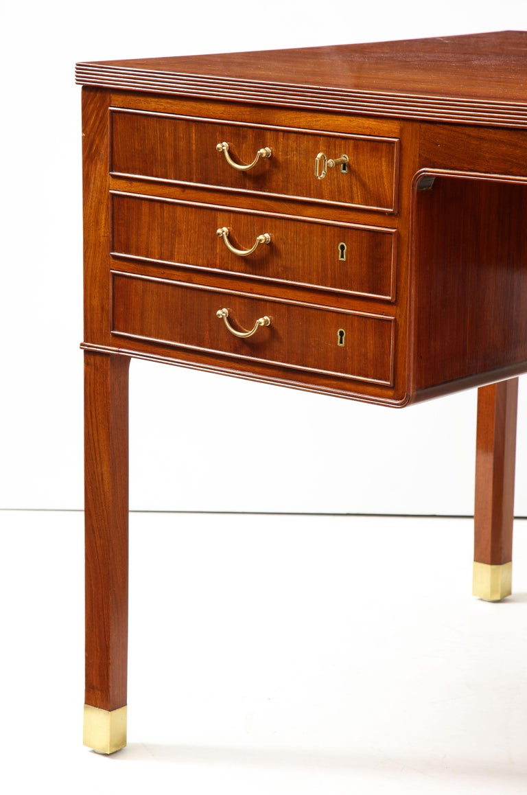 Danish Ole Wanscher Mahogany Desk, circa 1950s, Produced by A. J. Iversens For Sale