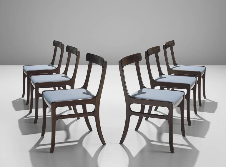 Dining chairs, model 'Rungstedlund' PJ 34 by Ole Wanscher for P. Jeppesen, St. Heddinge, mahogany, blue upholstery, Denmark, 1960s.  These classic dining chairs are designed by the Danish designer Ole Wanscher features a slightly reclining back and