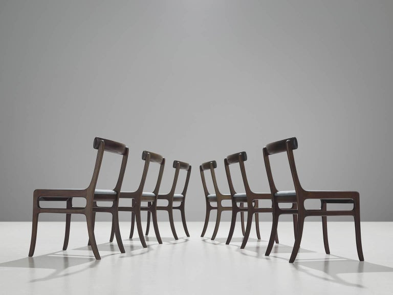 Scandinavian Modern Pair of Ole Wanscher Mahogany 'Rungstedlund' Dining Chairs For Sale