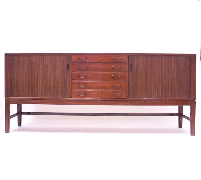 Scandinavian Modern Ole Wanscher Mahogany Sideboard, A.J. Iversen, 1940s For Sale