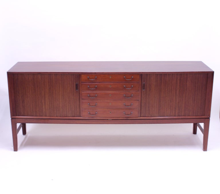 Metal Ole Wanscher Mahogany Sideboard, A.J. Iversen, 1940s For Sale