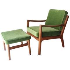 Ole Wanscher Mid-Century Modern Oak Velvet Green Danish Lounge, 1960