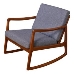 Ole Wanscher Model 120 Teak Rocking Chair with Kvadrat Fabric