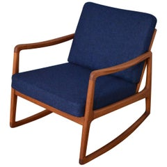Ole Wanscher Model 120 Teak Rocking Lounge Chair for France & Son