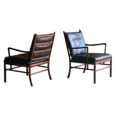 Ole Wanscher Model 149 Rosewood Colonial Chairs Pair by Poul Jeppesens, Denmark