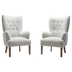 """Ole Wanscher """"Model 1673"""" High Back Chairs for Fritz Hansen, Denmark 1940s"""