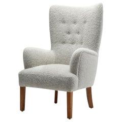 """Ole Wanscher """"Model 1673"""" High Backed Easy Chair for Fritz Hansen, Denmark 1940s"""