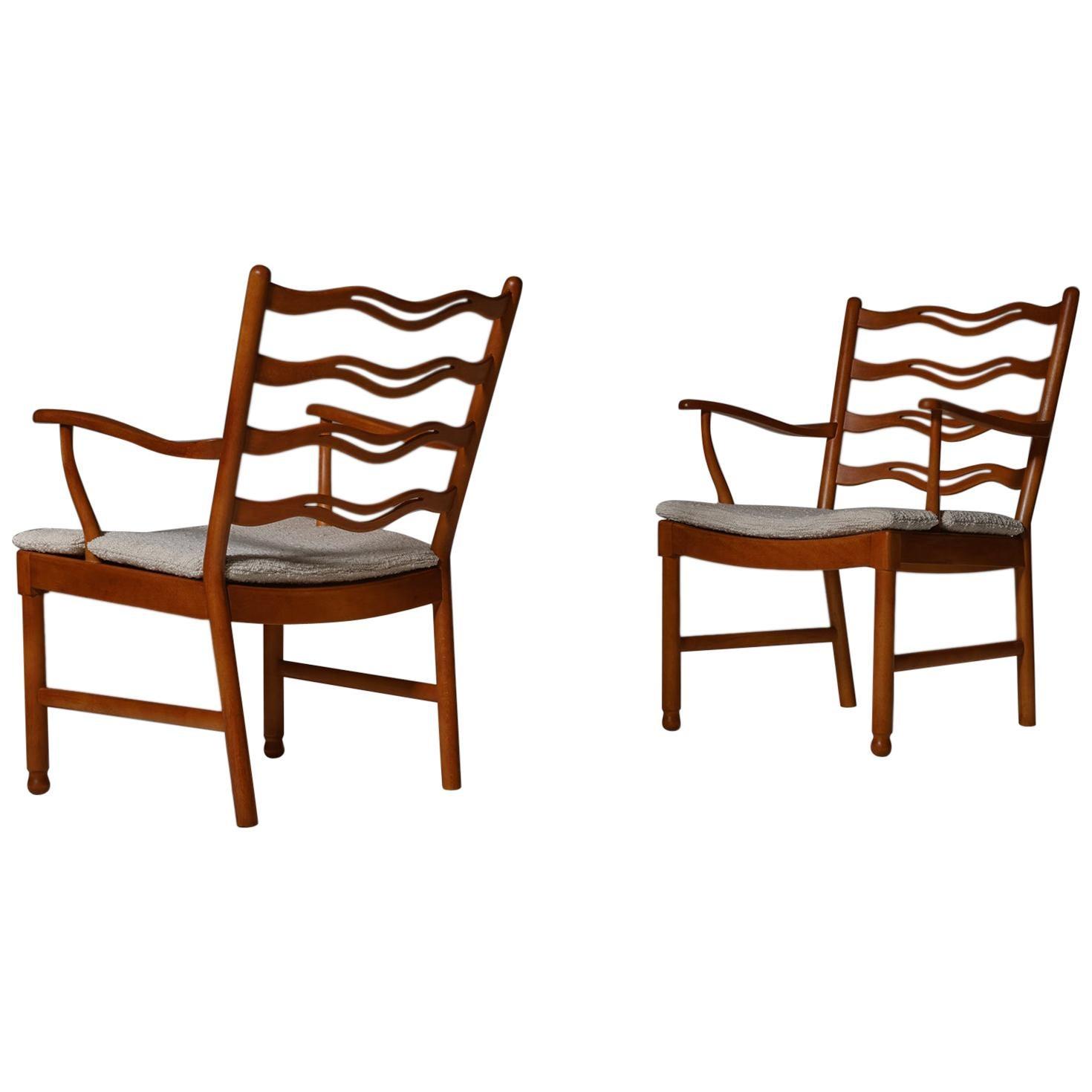 Ole Wanscher 'Model 1755' Armchairs for Fritz Hansen, Set of Two