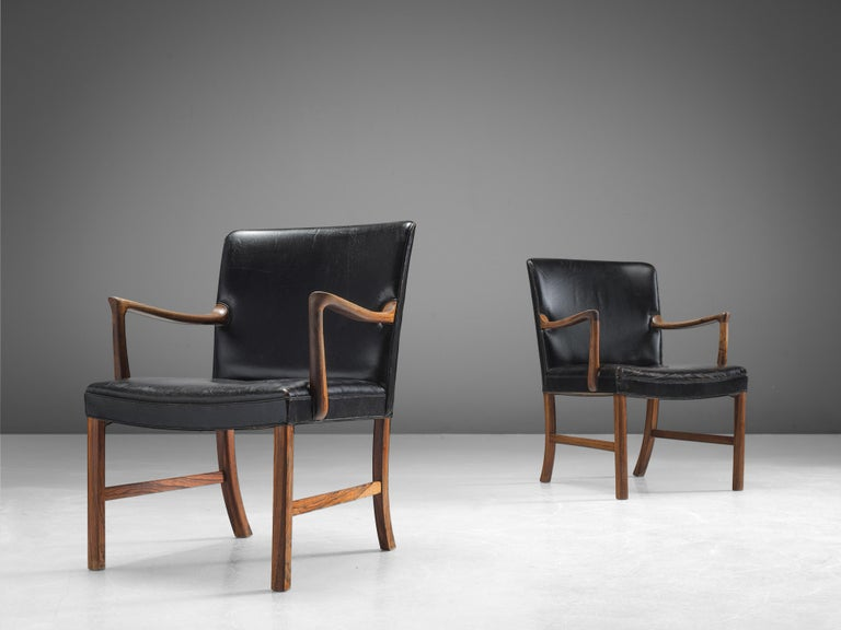 Danish Ole Wanscher Pair of Armchairs in Black Leather and Rosewood For Sale