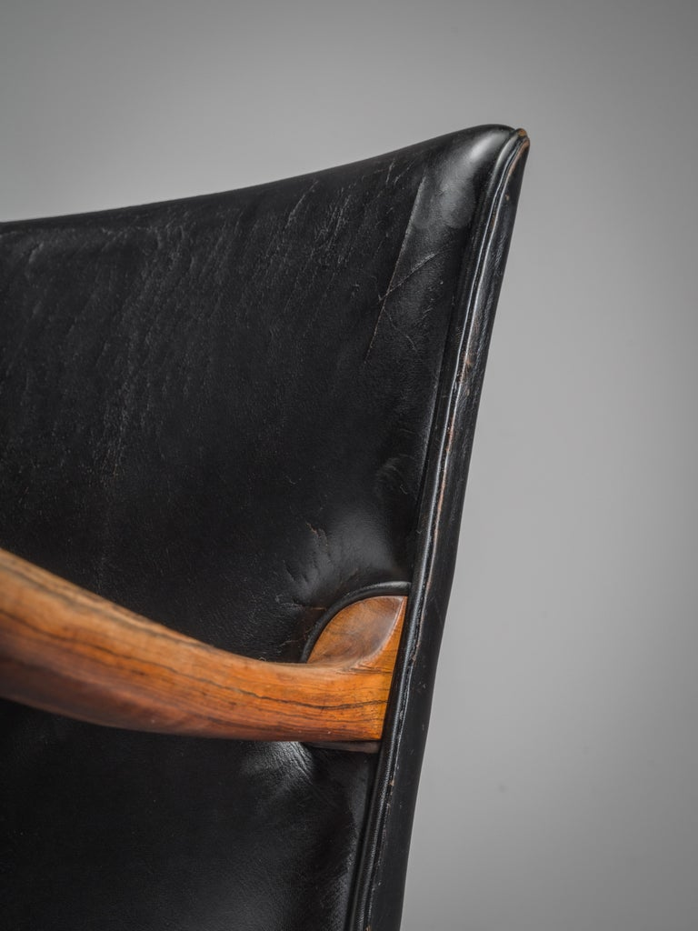 Ole Wanscher Pair of Armchairs in Black Leather and Rosewood In Good Condition For Sale In Waalwijk, NL
