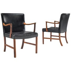 Ole Wanscher Pair of Armchairs in Black Leather and Rosewood