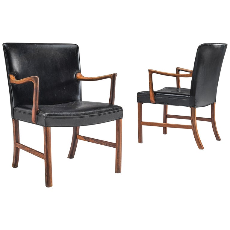 Ole Wanscher Pair of Armchairs in Black Leather and Rosewood For Sale