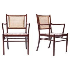 """Ole Wanscher Pair of """"Colonial"""" Mahogany Armchairs with Woven Cane Back"""