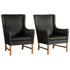 Ole Wanscher Pair of High-Backed Easy Chairs for A. J. Iversen