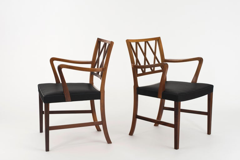 Ole Wanscher pair of armchairs in Rosewood and black horsehair. Executed by A. J. Iversen, Copenhagen, Denmark.