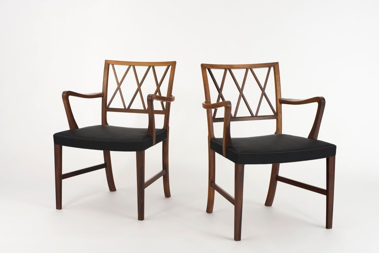 Scandinavian Modern Ole Wanscher Pair of Rosewood Armchairs for A. J. Iversen For Sale
