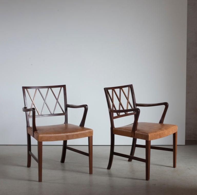 Scandinavian Modern Ole Wanscher Pair of Rosewood Armchairs for A. J. Iversen For Sale
