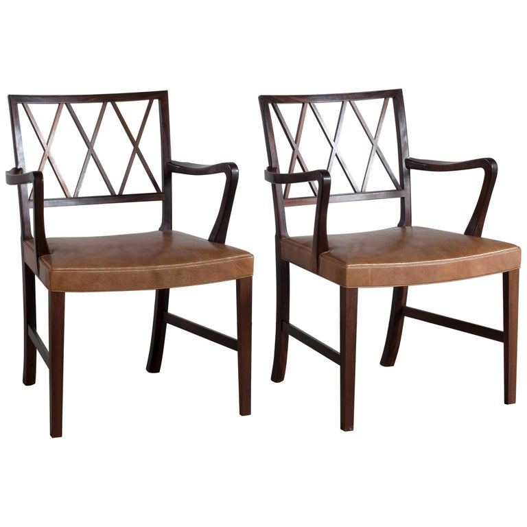 Ole Wanscher Pair of Rosewood Armchairs for A. J. Iversen For Sale