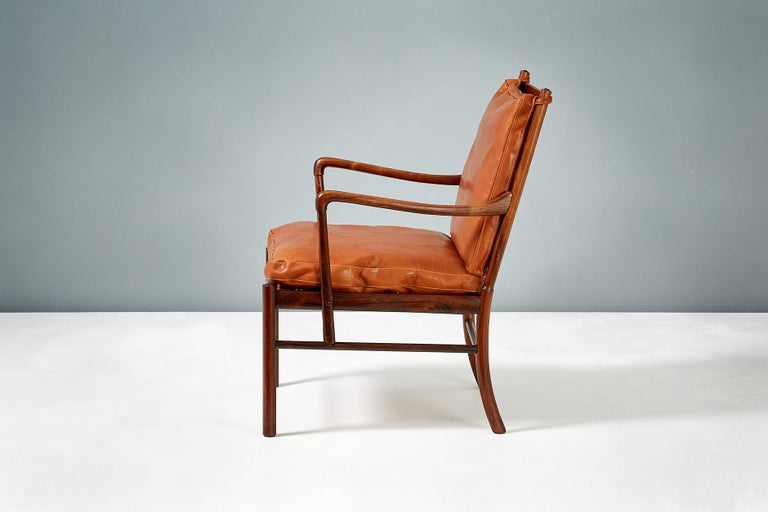 Scandinavian Modern Ole Wanscher Pair of Rosewood Colonial Chairs, 1950s For Sale