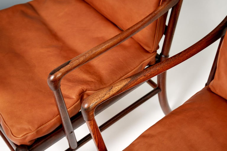 Ole Wanscher Pair of Rosewood Colonial Chairs, 1950s In Excellent Condition For Sale In London, GB