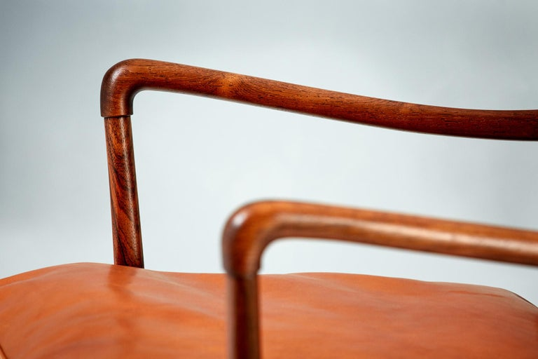 Mid-20th Century Ole Wanscher Pair of Rosewood Colonial Chairs, 1950s For Sale