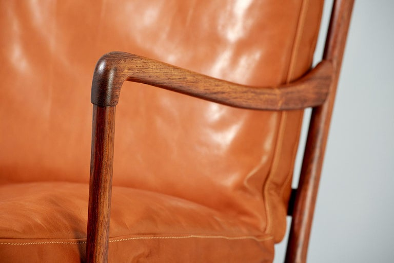 Leather Ole Wanscher Pair of Rosewood Colonial Chairs, 1950s For Sale