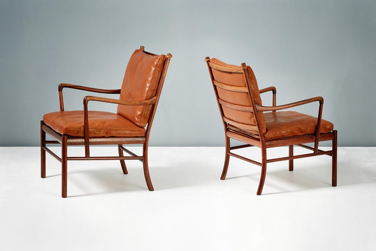 Ole Wanscher Pair of Rosewood Colonial Chairs, 1950s For Sale 1