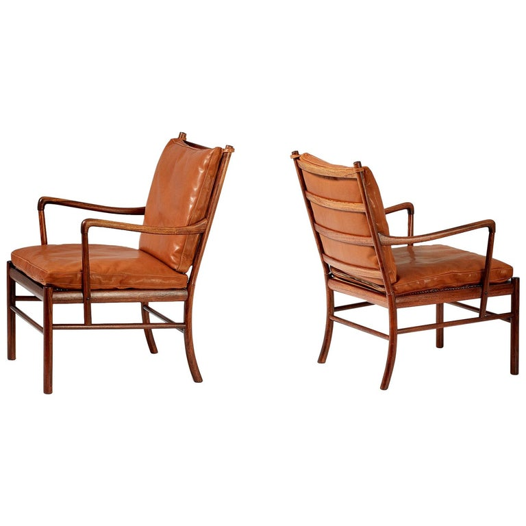 Ole Wanscher Pair of Rosewood Colonial Chairs, 1950s For Sale