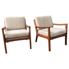 Ole Wanscher Pair of Senator Chairs in Teak and Mohair