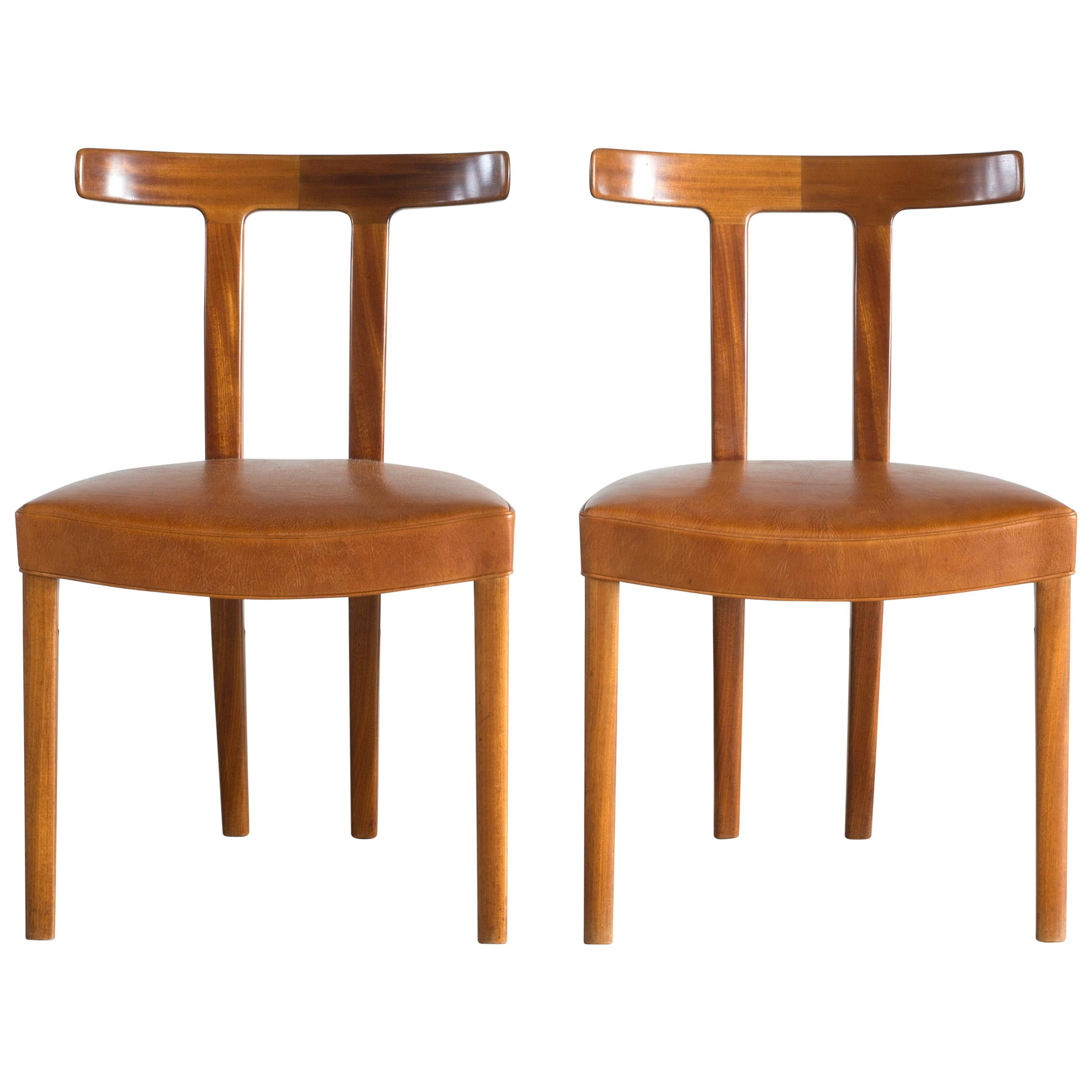 Ole Wanscher Pair of 'T' chairs for A.J. Iversen