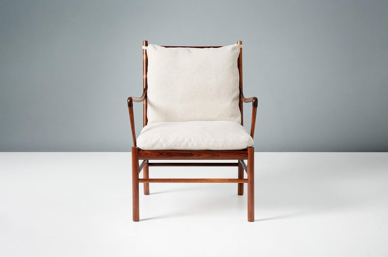 Ole Wanscher  PJ-149 Colonial chair, 1949  A fine pair of Ole Wanscher's most iconic design: The colonial chair. Produced by Poul Jeppesen in Denmark circa 1950s in exquisite Brazilian rosewood with original woven rattan cane seat and feather