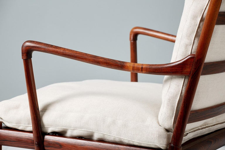 Mid-20th Century Ole Wanscher Pair of Vintage Rosewood Colonial Chairs, 1950s For Sale