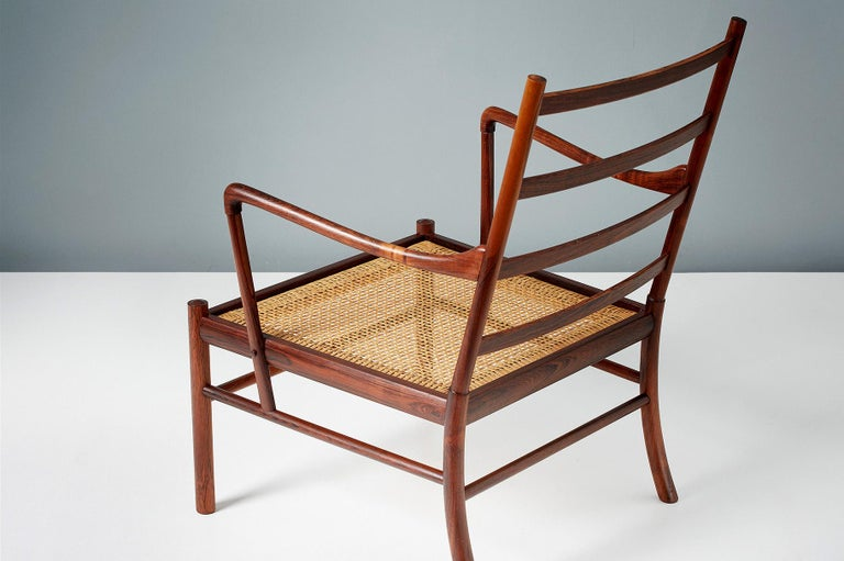 Rattan Ole Wanscher Pair of Vintage Rosewood Colonial Chairs, 1950s For Sale
