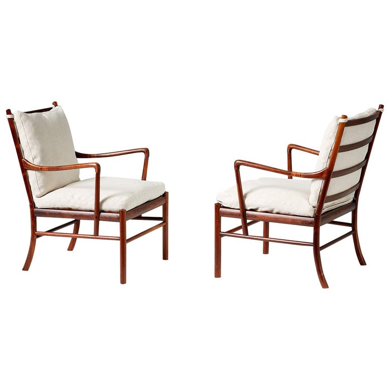 Ole Wanscher Pair of Vintage Rosewood Colonial Chairs, 1950s For Sale