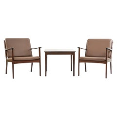 Ole Wanscher PJ112 Lounge Chairs and Side Table