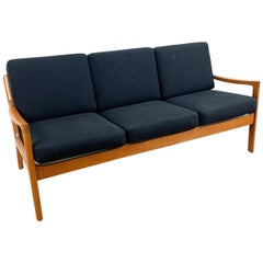 Ole Wanscher Senator Sofa in Solid Teak from 1962, Newly Upholstered