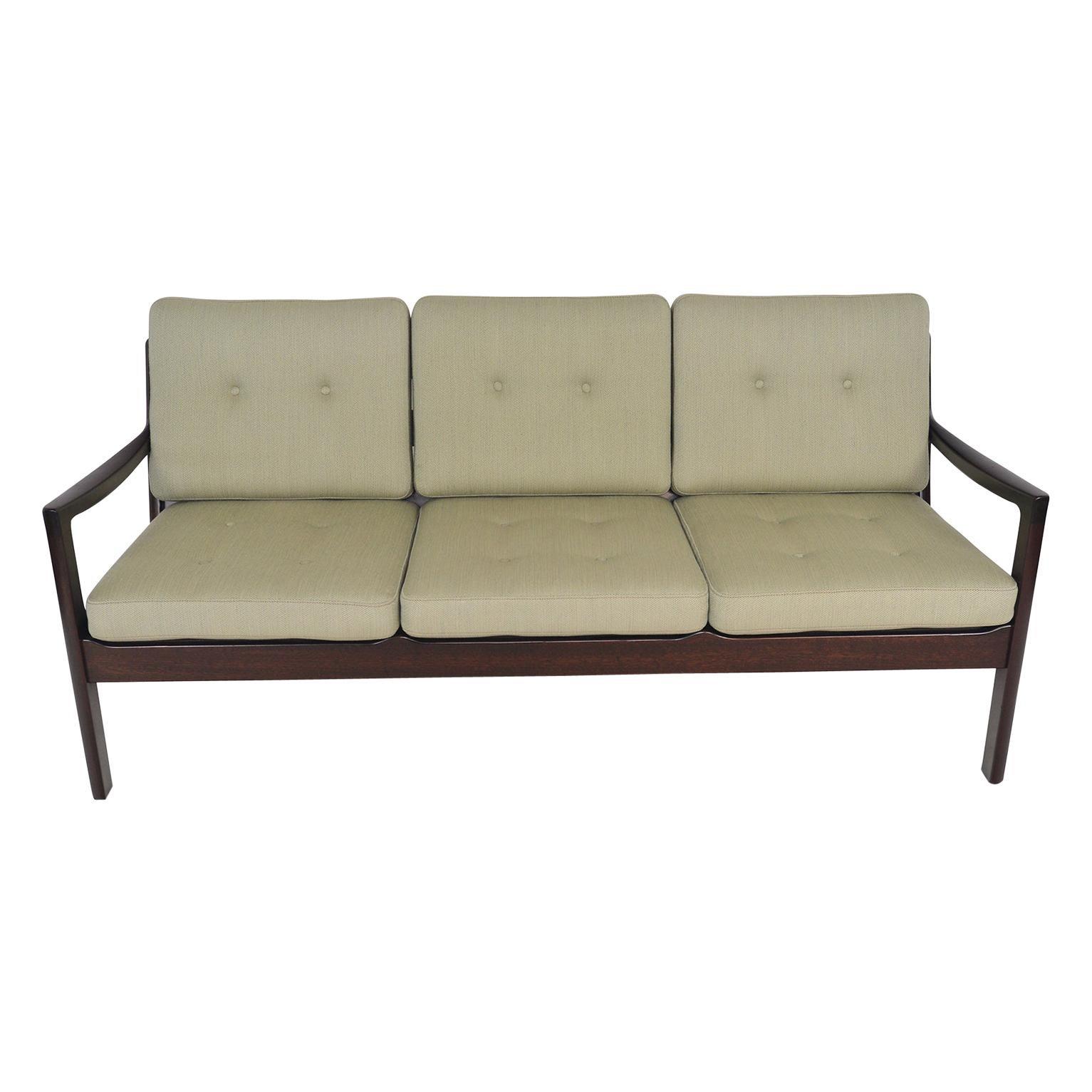 Ole Wanscher Senator Three Seat Sofa in Mahogany