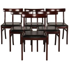 Ole Wanscher Set of 6 Rungstedlund Chairs of Mahogany Made by PJ Møbler, Denmark